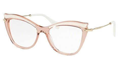 Miu Miu Women's Cat Eye Glasses, Transparent Pink/Clear, One - Glasses Miu Miu Cat Eye