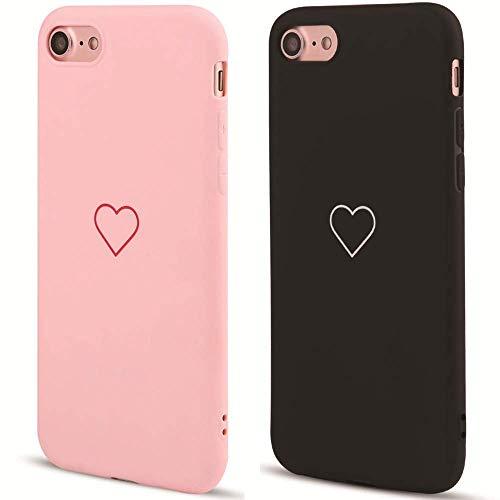 2 Pack for iPhone 6 Plus Case iPhone 6S Plus Case LAPOPNUT Fashion Cute Love-Heart Shape Matte Case Anti-Scratch Soft TPU Cover Back Bumper for Apple iPhone 6 Plus/iPhone 6S Plus,Pink&Black ()