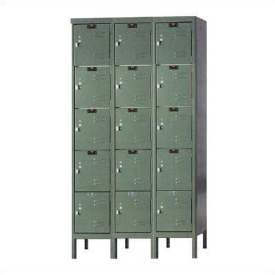 Hallowell U3286-5-HG Premium Box KD Metal Locker, Unassembled, 3-Wide Grouping, 5 Tier, 12