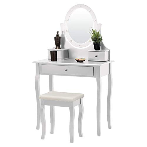 Fineboard FB-VT25-W LED Lights Vanity Table Set with Stool and Mirror with 3 Drawers, White