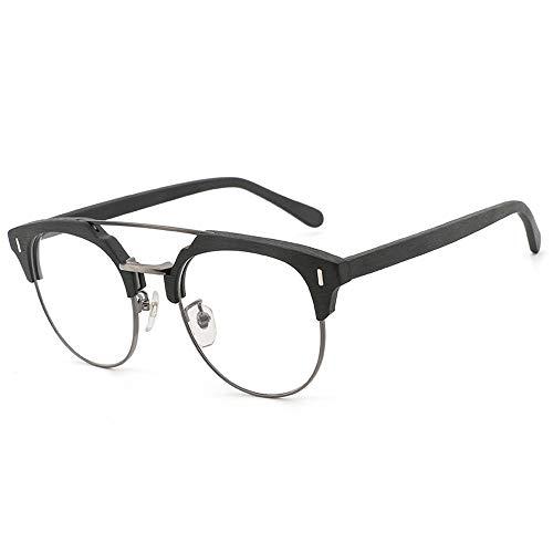 Glasses Plate Wood Grain Framer Glasses Frame Retro Imitation Wood Flat Light Glasses Eyewear (Color : 02 Black, Size : Free)