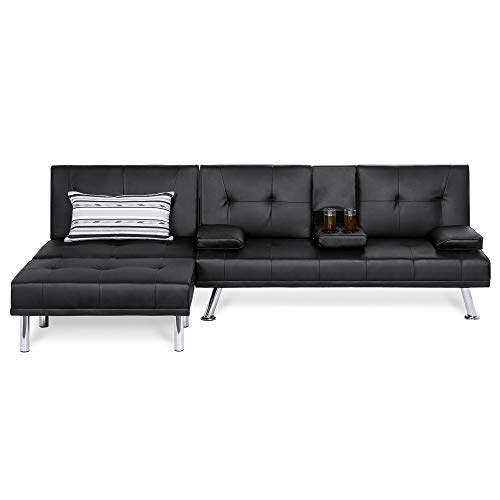 Black Modern Loveseat Leather (Best Choice Products 3-Piece Modular Modern Furniture Set w/Convertible Double Futon, Single-Seat Futon, and Footstool)
