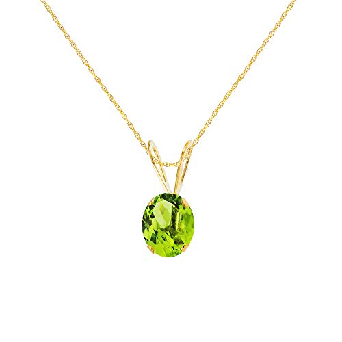 Genuine 10K Solid Yellow Gold 6x4mm Oval Natural Green Peridot August Birthstone 18