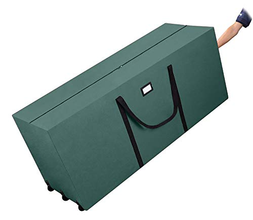 Primode Holiday Rolling Tree Storage Bag, Extra Large Heavy Duty Storage Container, 25 Height X 20 Wide X 60 Long With Wheels And Handles (Green)