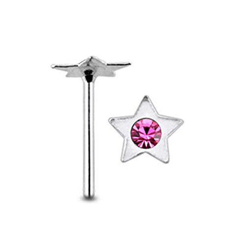 Costume Mystique X Men (Pink Gem Star Shape Sterling Silver Straight Nose pin Body)