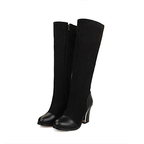 Black AdeeSu Ladies Toe Chunky Round Material Boots Zipper Soft Heels qqxrn7z