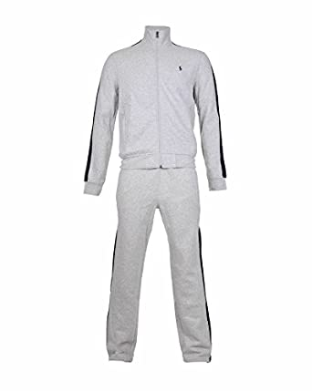 76378dfb Ralph Lauren Mens Grey Full Tracksuit - Jacket & Bottoms With Navy Stripe  Detail (Medium