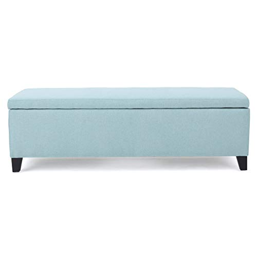Christopher Knight Home 299863 Living Clor Light Blue Fabric Storage Ottoman,