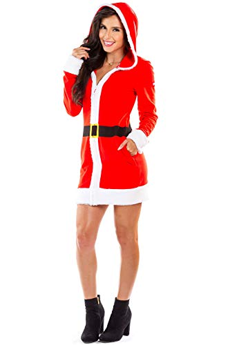 (Women's Mrs. Claus Christmas Sweater Dress - Red Zip Up Santa Dress with Hood Female:)