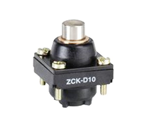Telemecanique ZCKD10 Metal Limit Switch Head for ZCKM and ZCKL Series Body, Plunger-Type, Top-Position, Spring Return