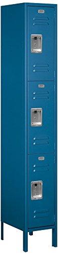 Salsbury Industries 63165BL-U Triple Tier 12-Inch Wide 6-Feet High 15-Inch Deep Unassembled Standard Metal Locker, Blue by Salsbury Industries