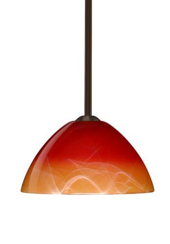 Besa Lighting 1TT-4201SL-LED-BR 1X6W GU24 Tessa LED Pendant with Solare Glass, Bronze Finish