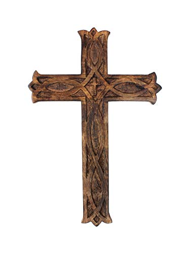 Artisans Of India Wooden Cross Plaque Long Hanging with Hand Carvings Religious Altar Home Living Room Decor