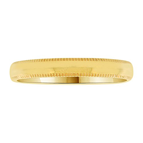 14k Yellow Gold, Classic Milgrain Plain Polished Band Ring 3mm Wide Size 13 by GiveMeGold