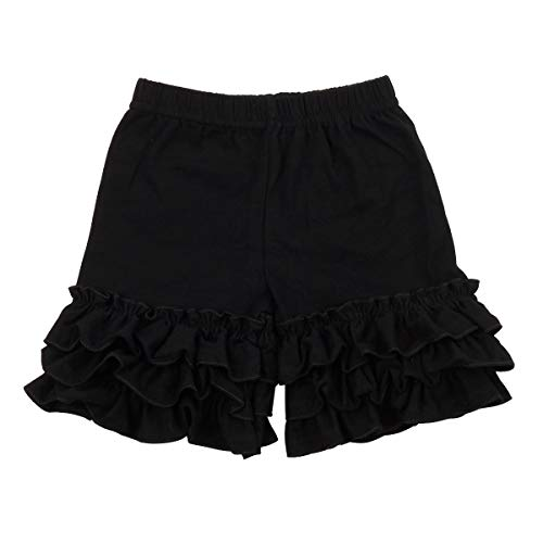 (Slowera Baby Girls Cotton Ruffles Shorts Pants (Black, 5-6)
