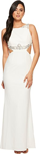 Adrianna Papell Women's Beaded Crepe Long Gown With Embellished Detail Ivory 12
