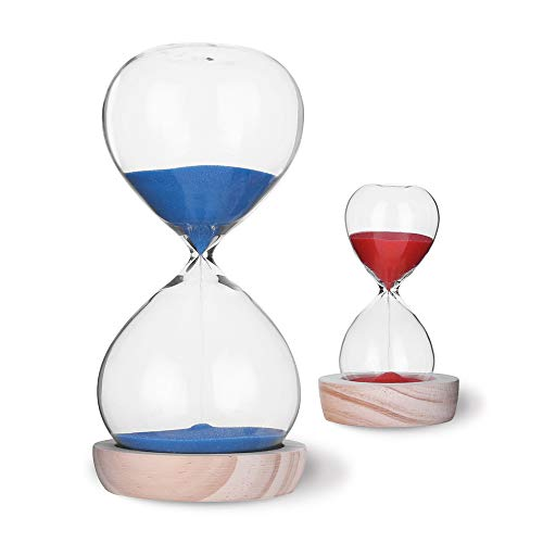 Hourglass Sand Timer Set-30 Minute & 5 Minute Timer Sets-Sand Clock Timers for Room Kitchen Office Decor -Time Management Tool with Wooden Base Stand (30 Minute Sand Glass)