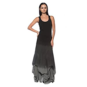 Rogue Finery Women's Black Gray Ombre Steampunk Victorian Goth Boho Bustle Pick Up Long Dress
