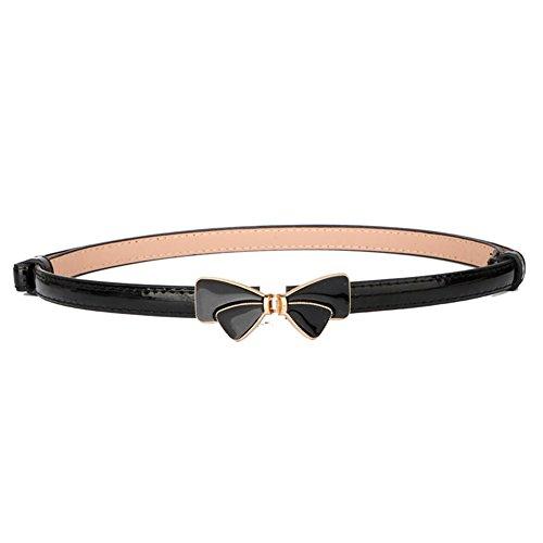 MoYoTo Women's Stylish Bowknot Buckle Thin Patent Leather Waist Belt For Dress (Black Patent Womens Dress)
