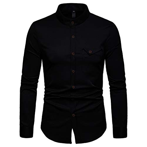 (LEXUPA Men's t-Shirts Fashion Men's Long Sleeve Casual Button Business Large Size Casual Top Blouse Shirts(Black,X-Large))