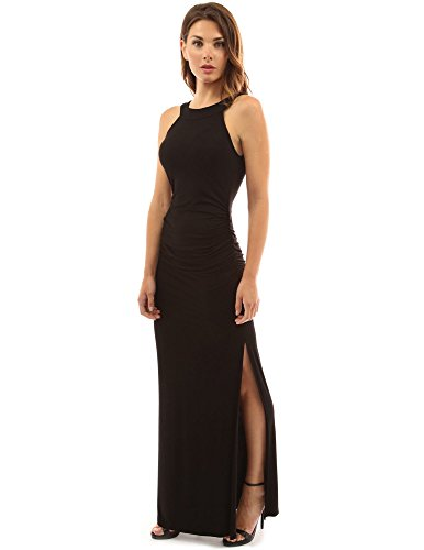 PattyBoutik Women's Crewneck Halter Side Slit Maxi Dress (Black XL)