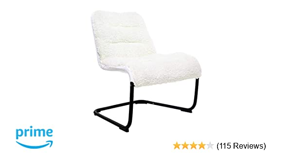 Zenree Comfy Dorm Chairs - Padded Folding Bedroom Reading Leisure/Lounge  Chair - Sherpa Seat for Living Room, Dorm, Teen\'s Den, White