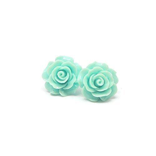Resin Turquoise Earrings (Large Rose Earrings on Plastic Posts for Metal Sensitive Ears, Pale Aqua)