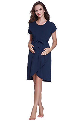 (Maternity Mid-Length Dress Dark Blue with a Waistband - for Work or Formal - A Loose and Comfortable Dress for Women)