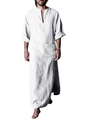 Makkrom Mens Ankle Length Henley Robes Roll-up Sleeve Casual Plain Ultra Long Gown with Pocket]()