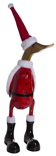 (World Shells Christmas Decoration- Brightly Colored Wooden Duck in Santa Costume)