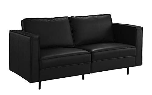 Mid Century Modern Leather Loveseat Couch Black