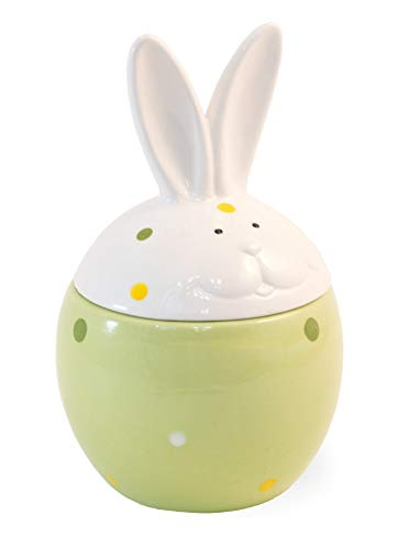 Large Dotty Bunny Mint Green 7 x 4 Dolomite Ceramic Easter Cookie Jar With Lid (Mint Cookie Jar)
