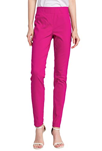 (SATINATO Women's Straight Pants Stretch Slim Skinny Solid Trousers Casual Business Office (0 Regular, Zipper Free-Fuchsia))