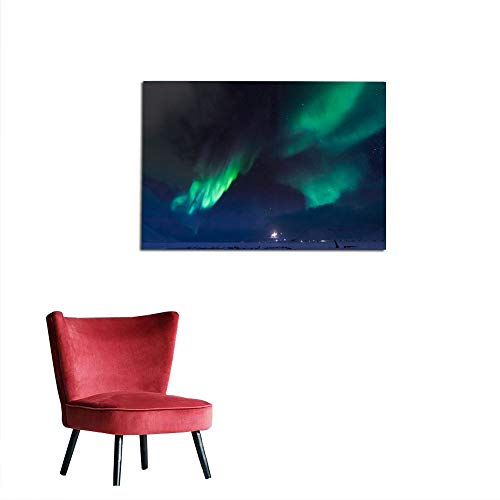 kungfu Decoration Wall Paper Polar Northern Lights in The Mountains of Svalbard Longyearbyen Spitsbergen Norway4 The Office Poster W35.4 x L23.6]()