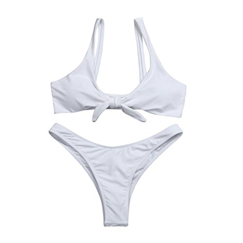 AIMTOPPY Women Knotted Padded Thong Bikini Mid Waisted Scoop Swimsuit Beach Swimwear (M, White)