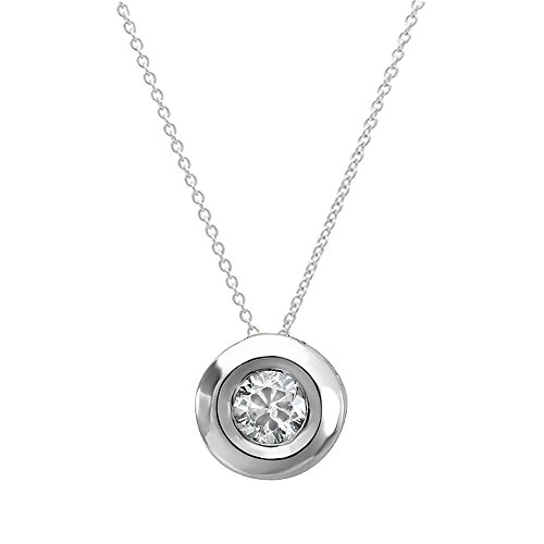 0.05 Carat (ctw) 14k White Gold Round Diamond Bezel Solitaire Small Ladies Pendant 1/20 CT FREE 18 INCH chain ()