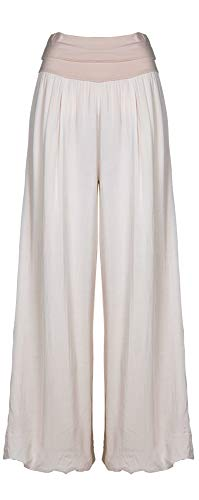 M Made in Italy - Women's Wide Leg Pants (Sand, XL)