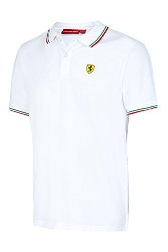 Scuderia Ferrari Formula 1 Men's 2017 White Tricolor Polo F1 - Scuderia White Ferrari