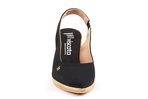 Visata Lloret 2,75 Tela Morbida, Zeppa Con Zeppa, Punta Arrotondata, Tacco Espadrillas Made In Spain Black