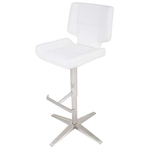 (Mix Brushed Stainless Steel X Base High-Back Adjustable Height Swivel Bar Stool White Brushed, Stainless Steel Finish)