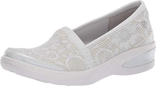 (BZees Women's Flirty Loafer, Light Grey Floral lace, 7.5 M M)