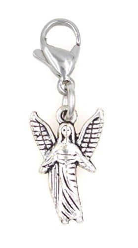 Small Angel Charm (Standing Angel Stainless Steel Clasp Clip on Charm SSCL 78Ad)