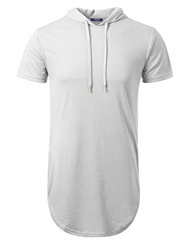 Aiyino Mens Hipster Longline Hooded Side Zipper T-Shirt US Small White