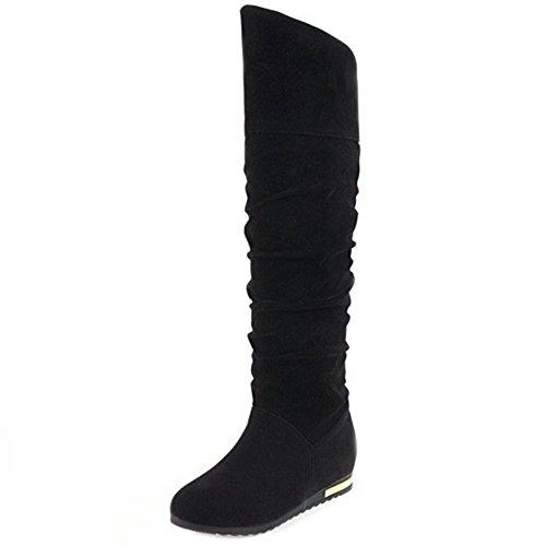 Fashion Slouch Boots Women Black TAOFFEN ZEq5xn