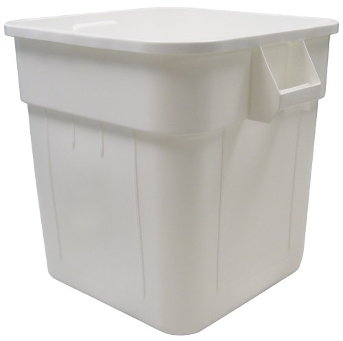 Continental 2800WH, Huskee White Square Receptacle, 32-Gallon Capacity, 21-1/2'' Length x 21-1/2'' Width x 22-1/2'' Height (Case of 6) by Continental Commercial