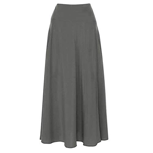 Femmes Robe Travail Wrap Xzdcdj Gris Maxi Plissés Longue Jupe Bureau Taille De Haute xWBCoerd