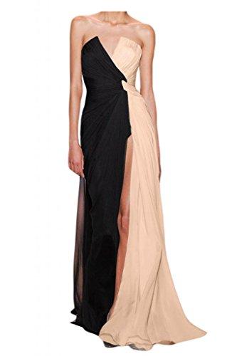 Toscana novia Chic sin hombro de la gasa vestido de fiesta largo ranura regreso por la noche Prom vestidos de moda Schwarz+Beige Rosa
