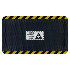 Nitrile Rubber Mats (Nitrile Rubber Hog Heaven™ Safety Message Anti-Fatigue Mats - On The Job Safety - 4'w x 6'l, Black/Black Border ON THE JOB SAFETY BEGINS HERE - Vertical)