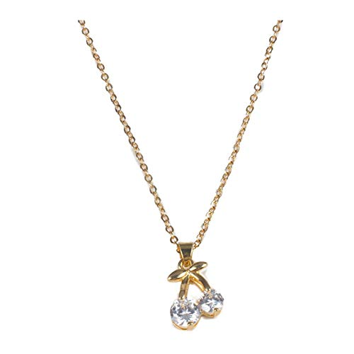 18K Gold Plated AAA Cubic Zirconia Golden Leaf Cherry Charm Pendant Choker Necklace,Collarbone chain ()