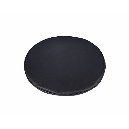 Padded Vinyl - Padded Black Vinyl Round Bar Stool Cover,with 2cm Foam, Waterproof & Anti Slip Stool Cushion for Wooden/Metal Stools